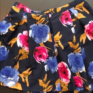 Navy Floral Miniskirt